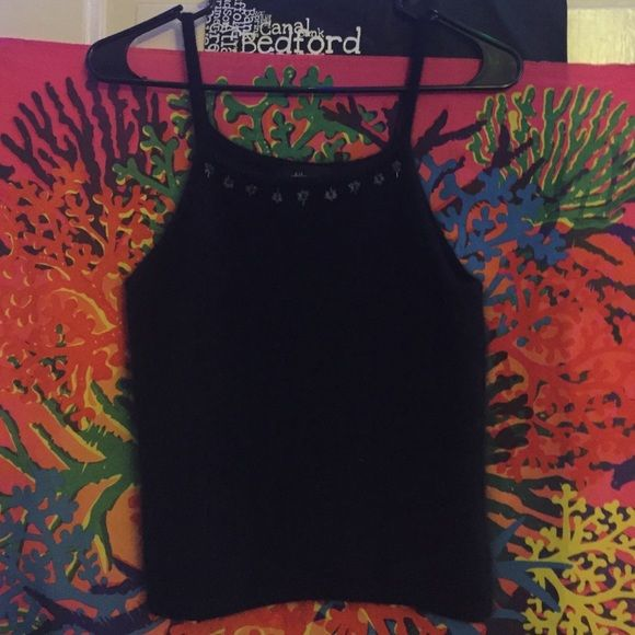 90s club kid fuzzy crop tank Super cute vintage 1990s fuzzy angora rabbit hair black cropped tank top with floral and bead embroidered detail. From the 90s but looks new. Softer then anything. UNIF Tops Crop Tops