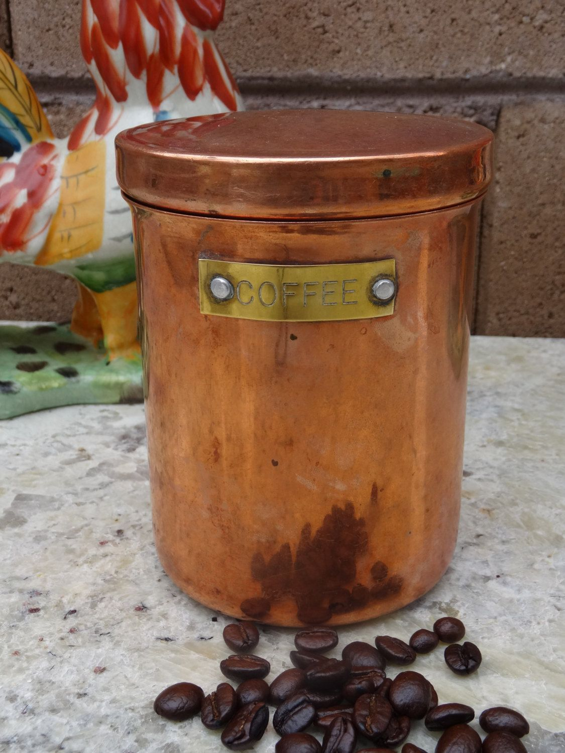 Vintage Copper Coffee Canister Small Italian Kitchen Bean Storage By Tiesofmyfather On Etsy