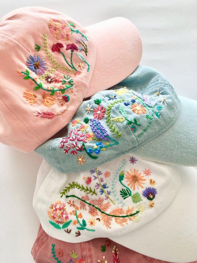Embroidered flower ladies baseball cap gift idea