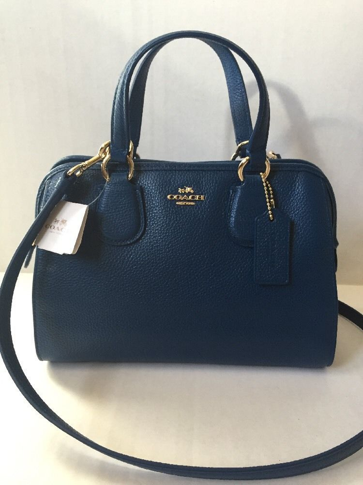 Coach Crossbody Mini Nolita Satchel Handbag in Leather Denim Blue ...