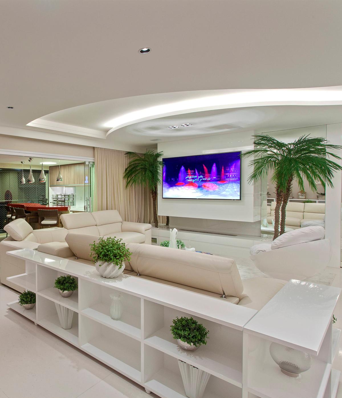 sofas modernos para sala de tv model sofa bed com aparadores otima opcao salas integradas decorsalteado