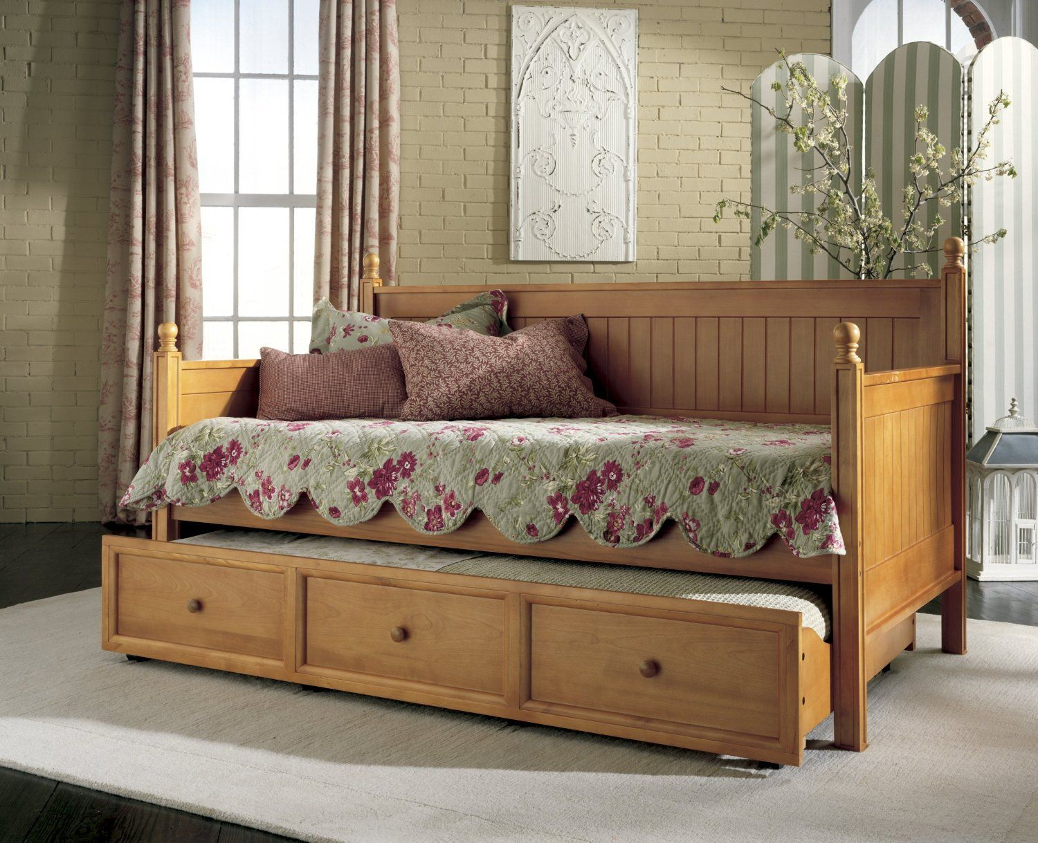 homey ideas twin bed with pull out bed. Fashion Bed Casey Wood Daybed in Honey Maple Finish with Optional Trundle  Adorable Full Size With And There Are Long Curtain