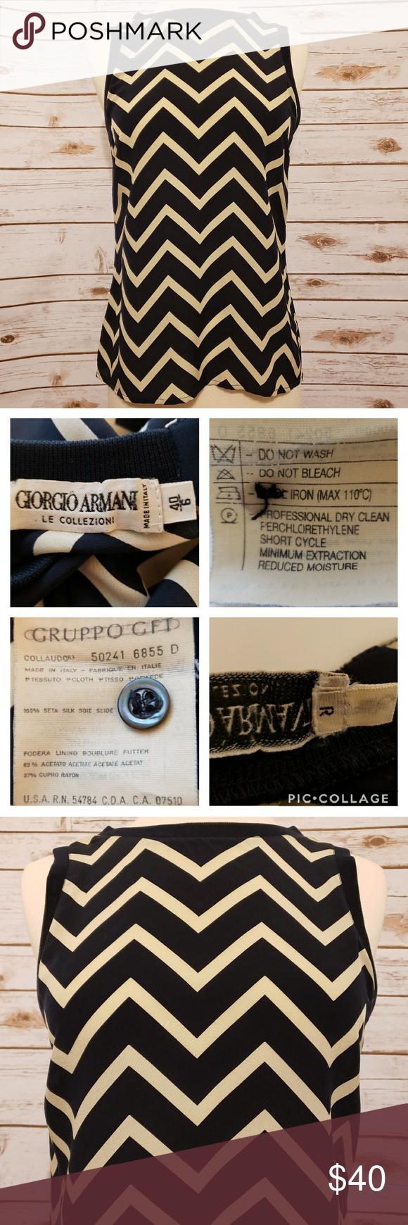 1640fd047b11a Vintage Armani 100% Italian Silk Chevron Blouse Vintage 100% silk blouse  made in Italy