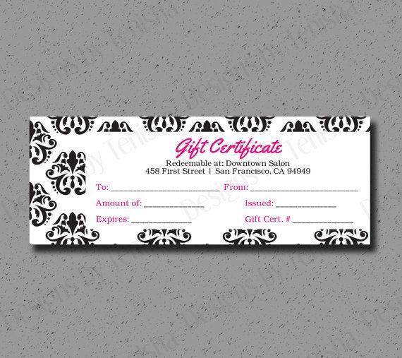 Custom Gift Certificate, Printable, DIY Gift Certificate, Coupon