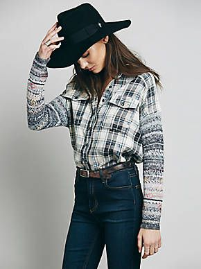 Free People Plaid Sweater Sleeve Tunic, $168.00