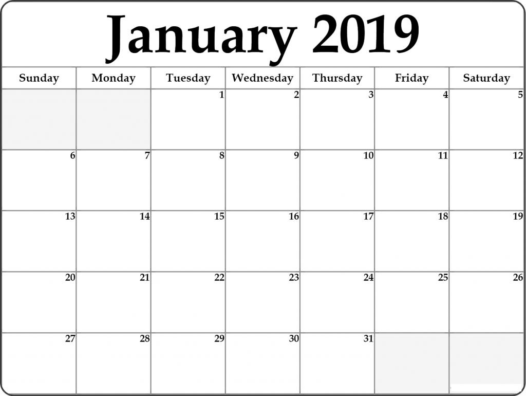 January 2019 Calendar Printable Free Pdf Document January 2019
