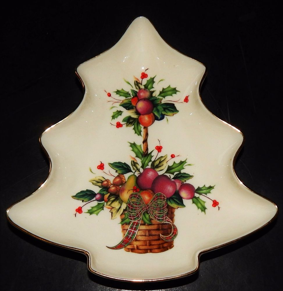 LENOX HOLIDAY TARTAN CANDY DISH CHRISTMAS TREE FIGURE Dimension ...