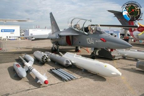 Russian Yakolev YAK-130 advanced trainer/attack a/c showing weapons & mission pods, at Paris Air Show 2013.
