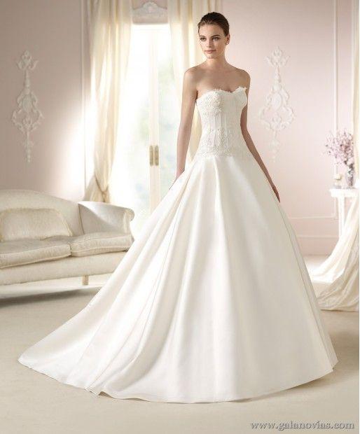 daura, vestido de novia white one. de raso y corte princesa con
