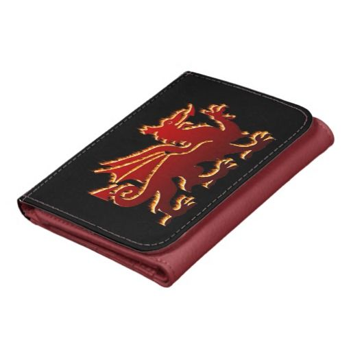 5dc13a704d Red flaming Welsh dragon faux leather wallet