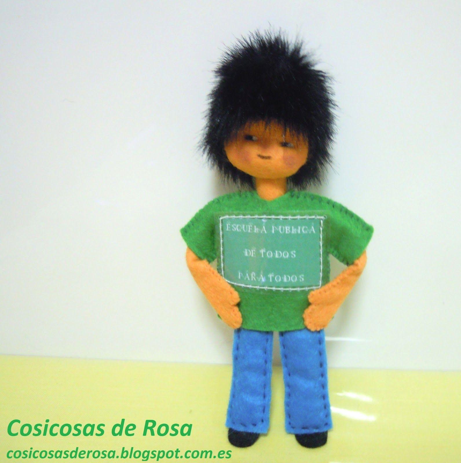 """Las Cosicosas de Rosa: Maestro reivindicativo. """"Escuela pública de todos, para todos"""". #cosicosas #fieltro"""