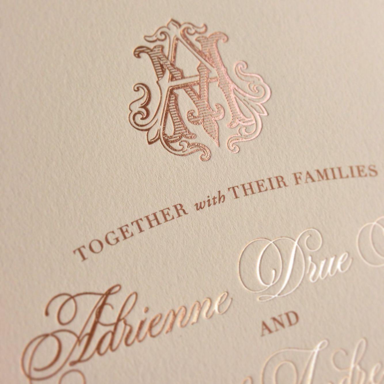 Rose gold foil custom monogram wedding invitations by ECRU ...