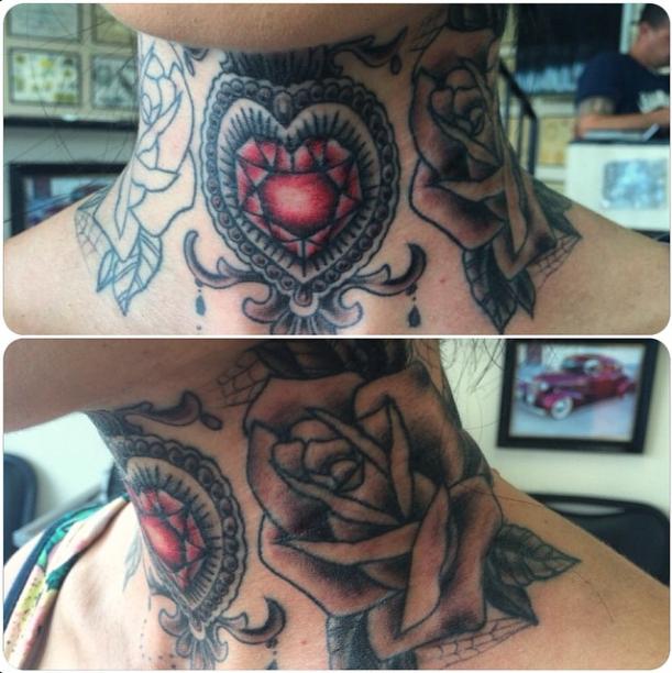 My throat piece (in progress) throat tattoo, neck tattoo