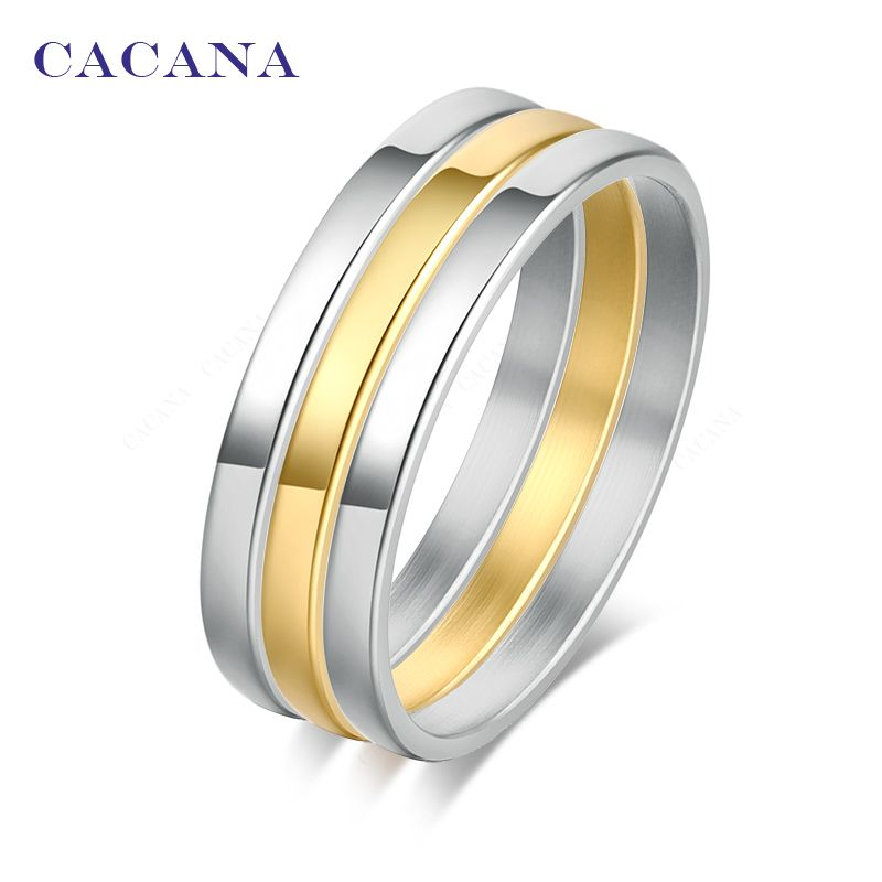 Cacana edelstahl ringe für frauen 1 satz (3 stücke) freie kombination modeschmuck großhandel no. r162