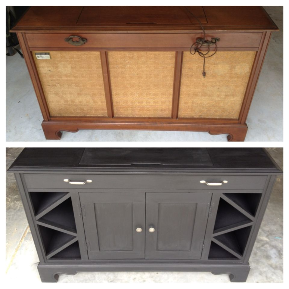 Old Record Player Cabinet Transformed Into Mini Bar Cabinet