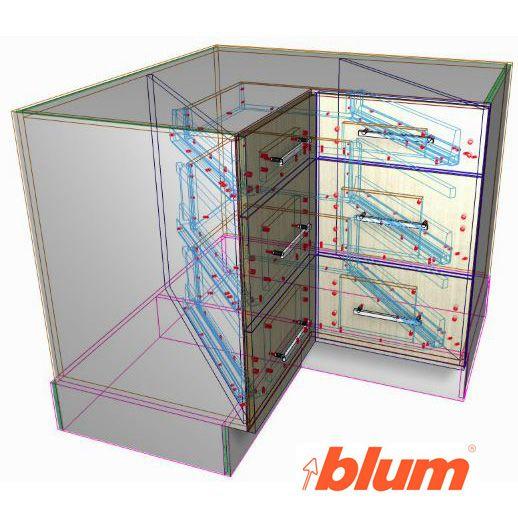 Blum SPACE CORNER Drawers - Solid Setup | Corner drawers ...