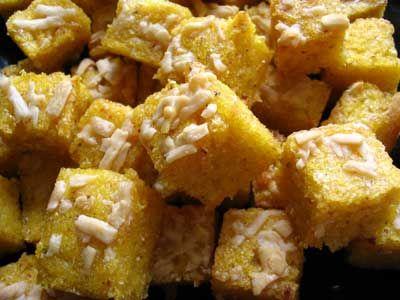 Polenta Croutons with Parmesan Crispy Cornbread Croutons Like Nordstrom's Cafe