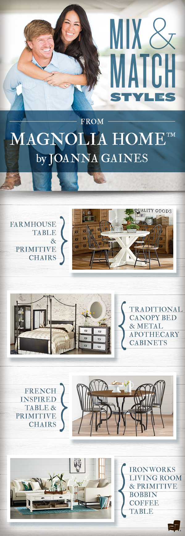 thoughtfully designed by joanna gaines herself each magnolia home piece creatively combines. Black Bedroom Furniture Sets. Home Design Ideas