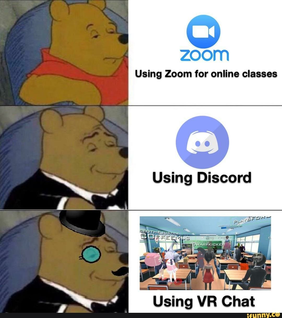 Zoom Using Zoom For Online Classes Using Vr Chat Ifunny Really Funny Memes Funny Relatable Memes Stupid Memes