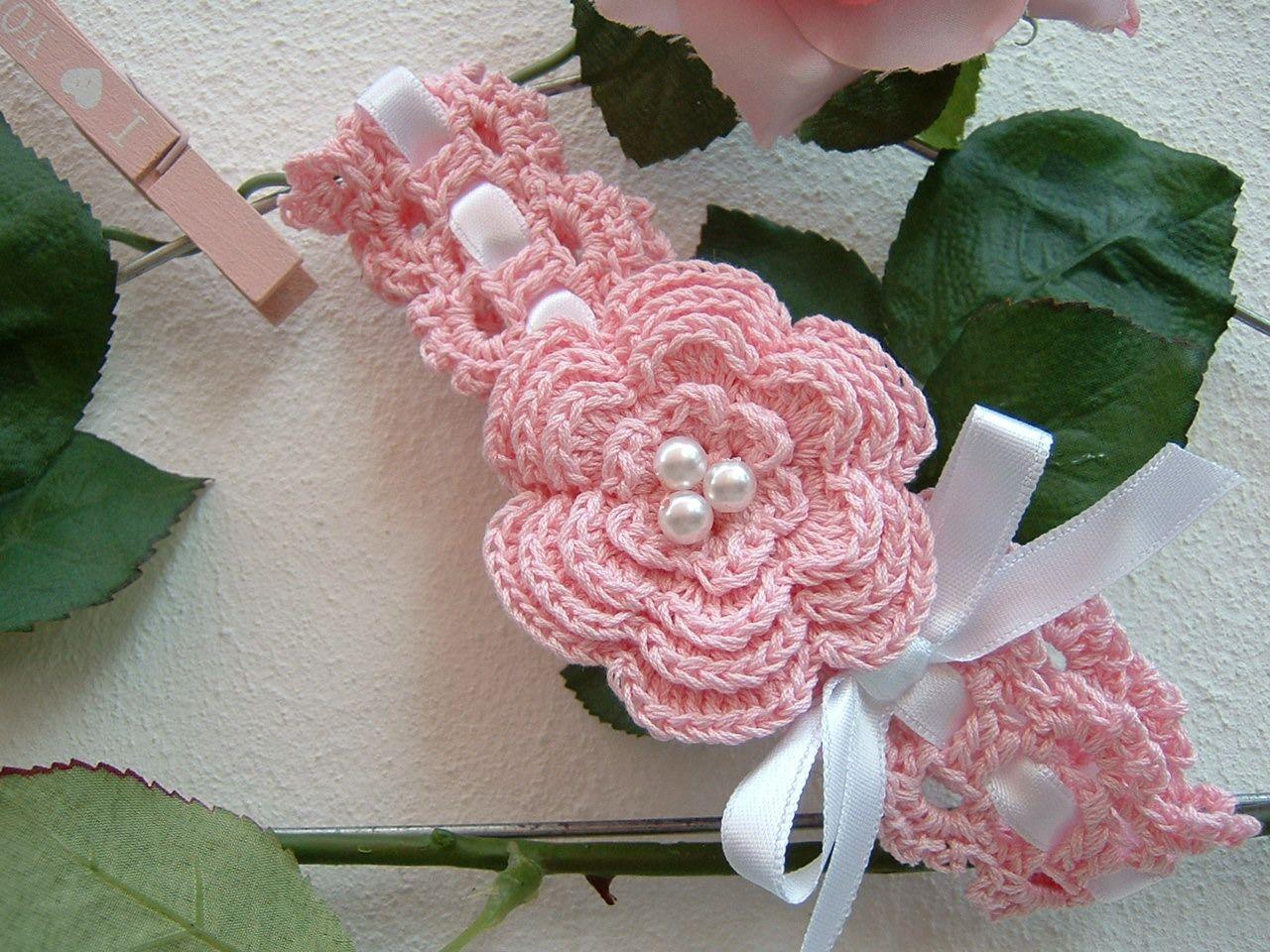 Fascia di cotone rosa da bebè-Fascia per capelli da neonata  all uncinetto-Nastro per capelli da battesimo-Abbigliamento neonate-Moda  bebè   Moda bebè di ... e5905fcafc67