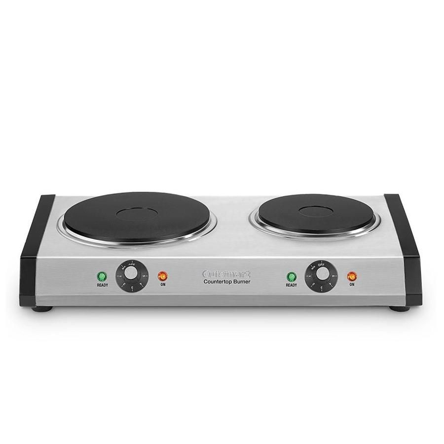 Cuisinart 12 In 2 Element Smooth Surface Radiant Stainless Look Electric Cooktop Common 12 In Actual 19 5 In At Lowes Double Burner Hot Plate Hot Plates