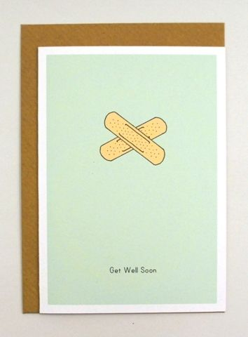 Plasters Illustration Funny Get Well Soon Card From Darwin Designs