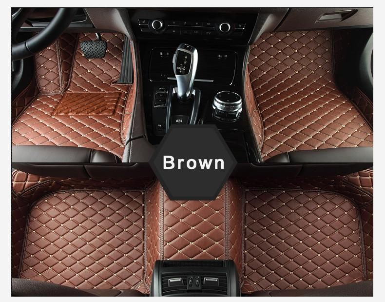 Luxury Diamond Stitched Floor Mats Brown Jaguar Full Set Tapetes De Chao Coisas De Carro Customizacao De Carros