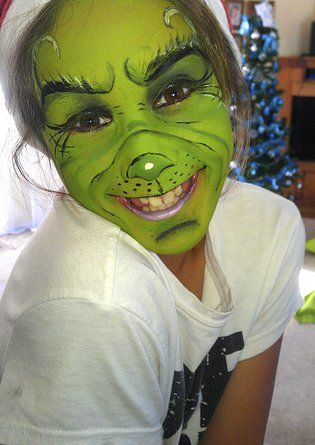Tauranga Face Painter Face Painting Bay Of Plenty New Zealand Corpor Christmas Face Painting Kids Grinch Costume Face Painting