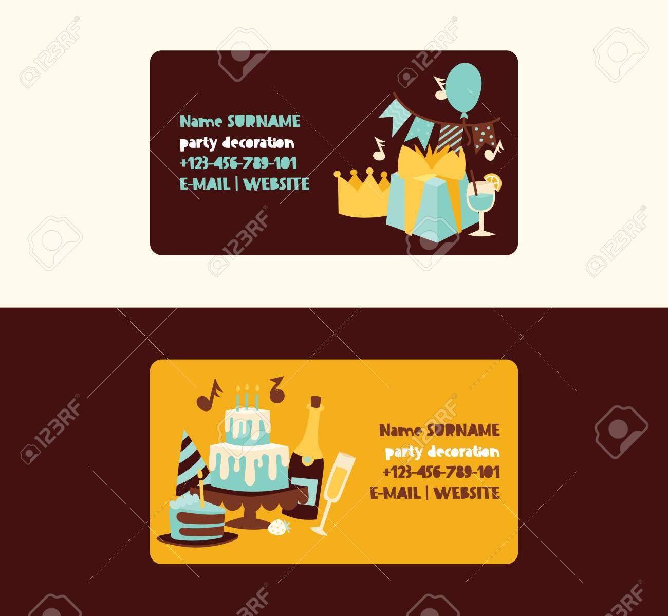 Birthday Party Vector Anniversary Business Card Design Cartoon
