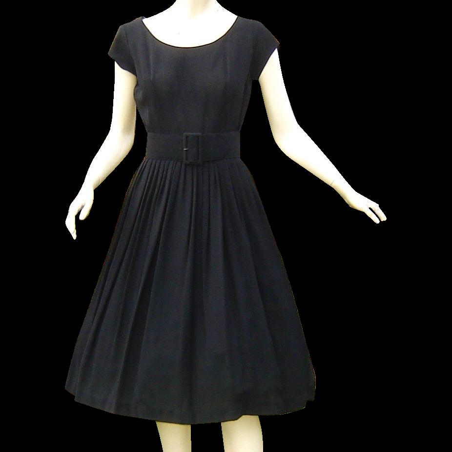 Vintage 1950s Black Dress Rubylanecom Vintagebeginshere Vintage 1950s Black Dress Black Dress Full Skirt Dress [ 926 x 926 Pixel ]
