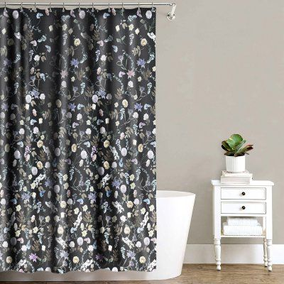 Sweet Home Collection Akita Floral Fabric Shower Curtain Black