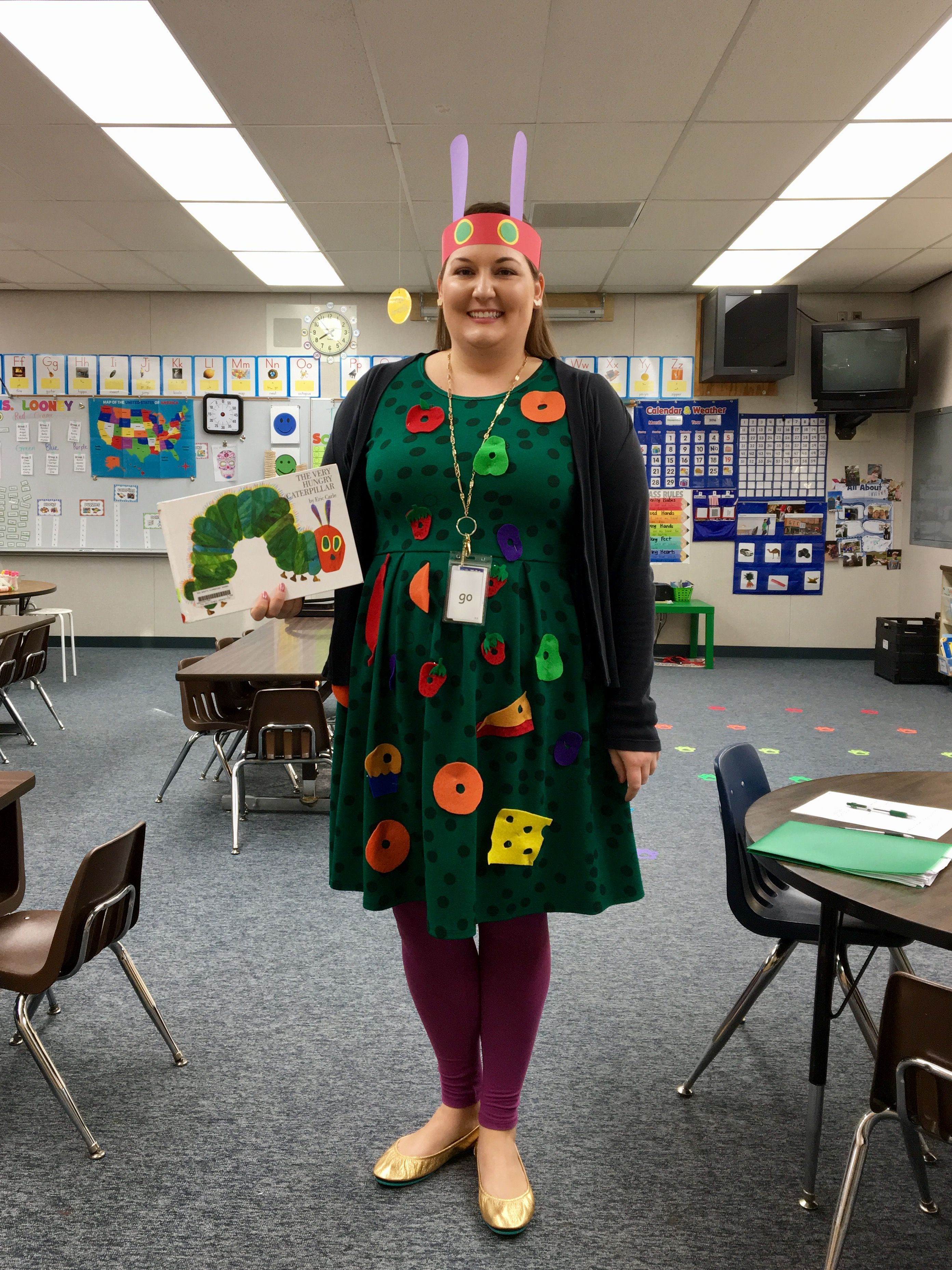 Very Hungry Caterpillar costume for Dress Up As A Book Character Day!
