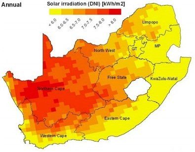 Solar irradiation map of South Africa | Projects to Try | Solar