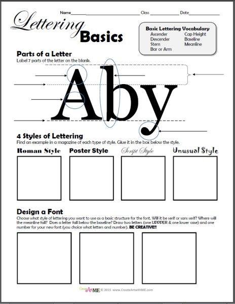 Typography Lettering Basics Lesson Plan and Worksheet | Shops ...