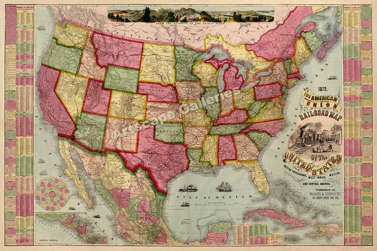 Old train map google search train depot pinterest train map haasis and lubrechts the american union railroad map of the united states british possessions west indies mexico and central america lib of cong gumiabroncs Images