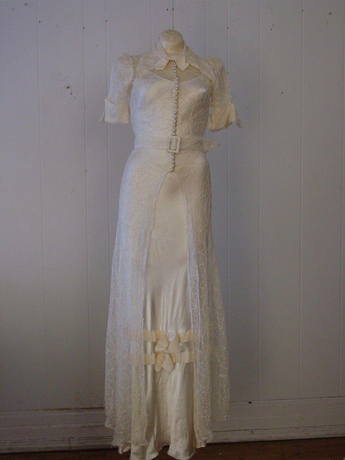 Vintage 1920s 30s Spider Web Dress Wedding Formal Gown Small   eBay ...