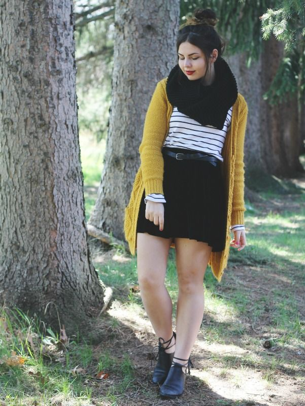 A comfy way to style up an essential striped shirt! Chunky Knit Cardi + Cut Out Boots + Velvet Skirt + Infinity Scarf + Top Knot!
