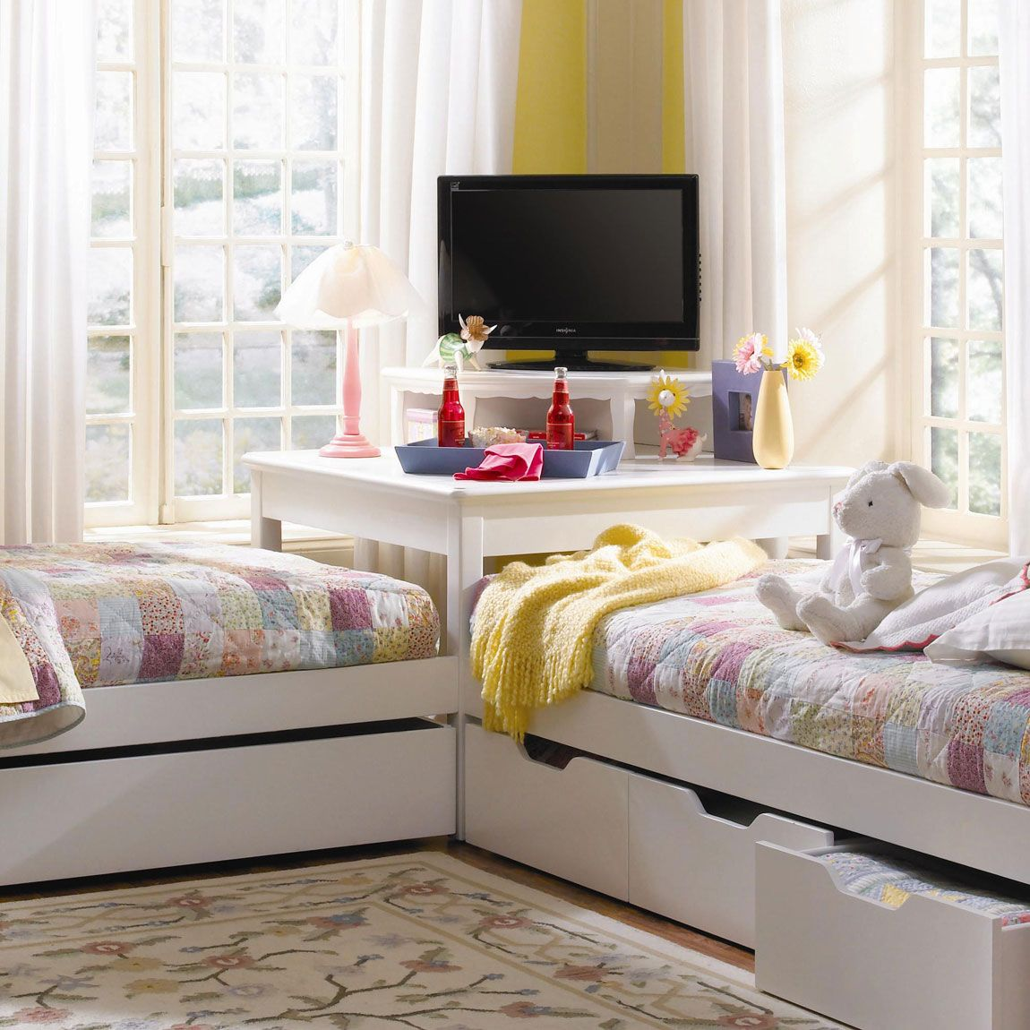 Bedroom Interior, Corner Twin Beds For Your Kids Room