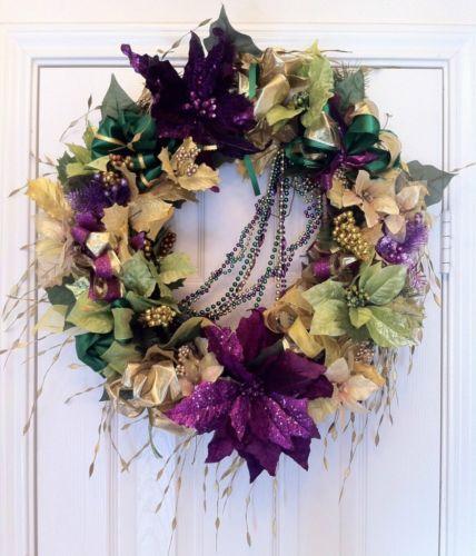 "Mardi Gras 22"" Floral Wreath green, purple, gold, faux silk flowers, ribbon"