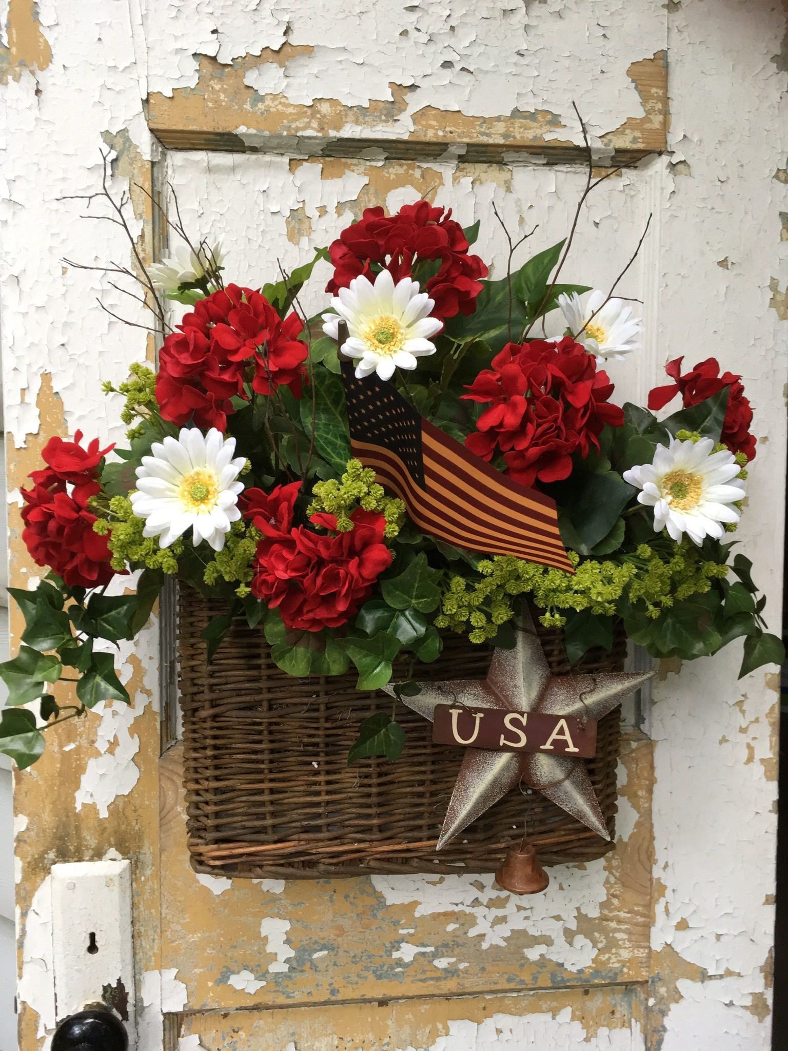 Patriotic Wreath, Patriotic Basket, Americana Wreath, 4Th Of July Wreath,