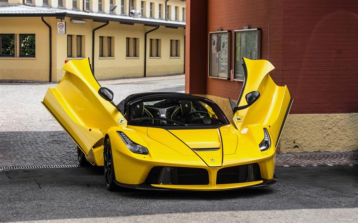 Download Wallpapers 4k Ferrari Laferrari Aperta Hypercars 2017 Cars Supercars Yellow Laferrari Ferrari Besthqwallpapers Com In 2021 Ferrari Laferrari Cool Sports Cars Super Cars