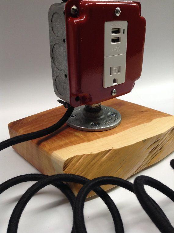 Lamp Industrial Light USB Port Cell Phone Man Cave Dorm ...
