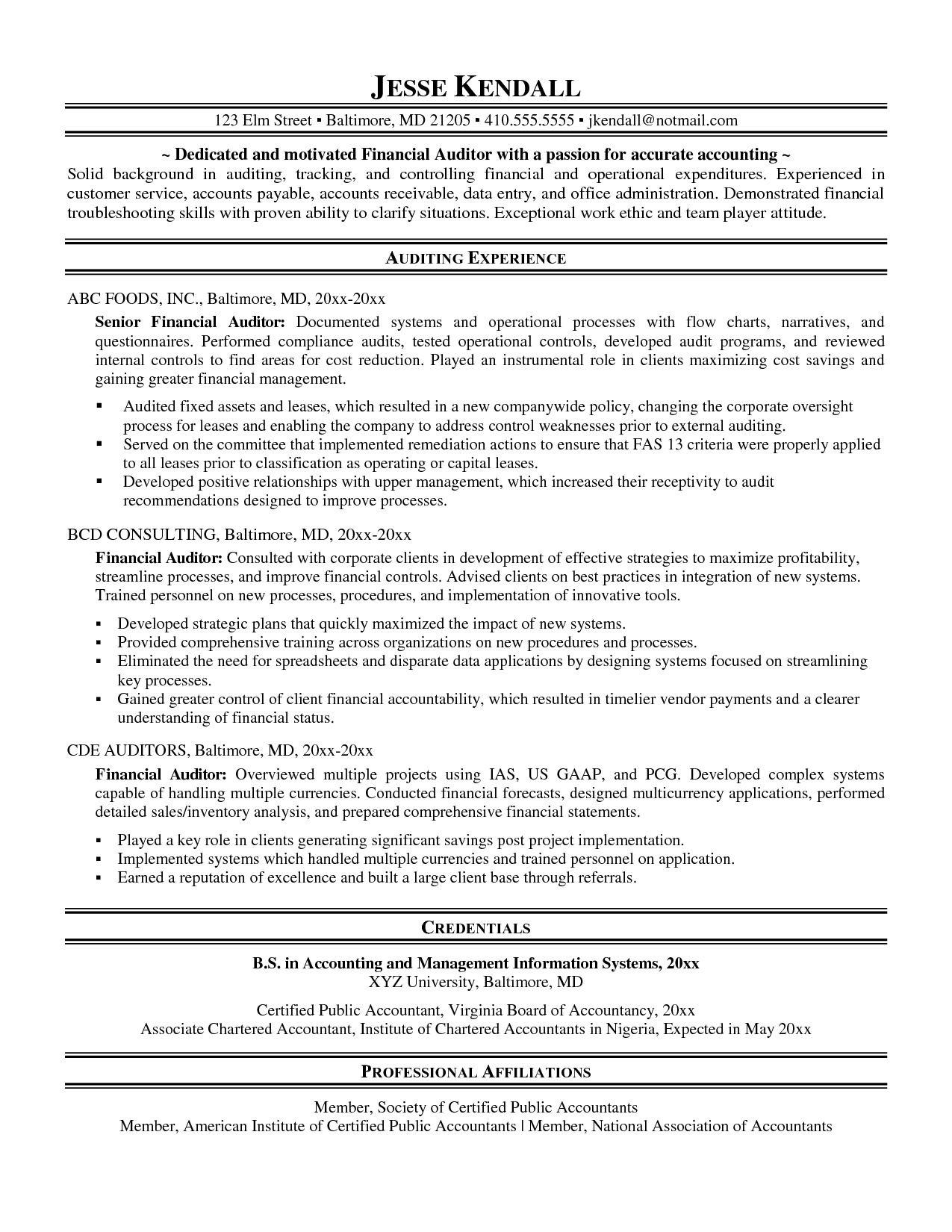 awesome collection of internal audit resume objectives