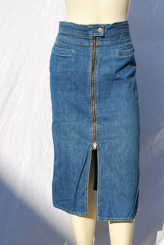 Vintage 70's DENIM pencil skirt sexy front zipper denim skirt s7 A ...