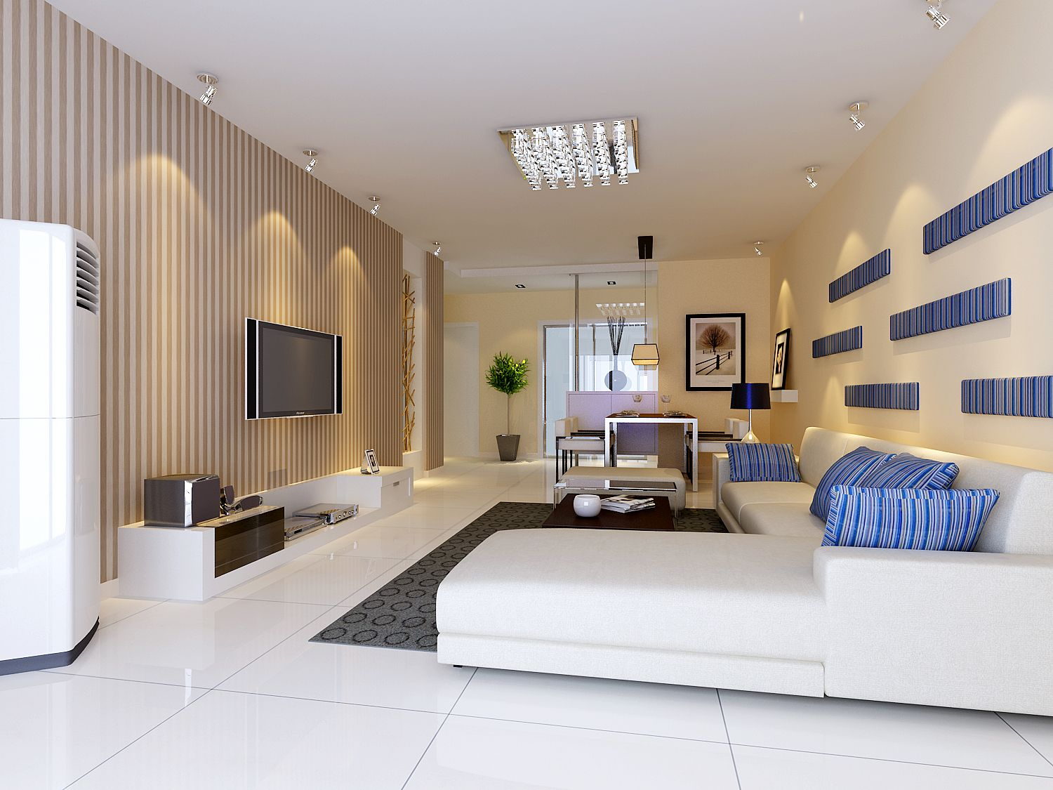 White Marble Flooring For Living Room With Cream Wall Paint Colors