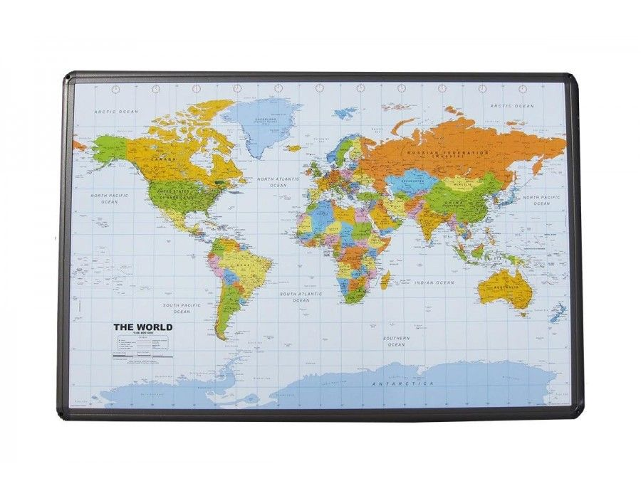 Buy World Map On Cork Board Aluminum Frame With Push Pins - World map for sale