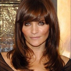 Dark Chocolate Brown Hair Color With Caramel Highlights Simple Bangs Covering The