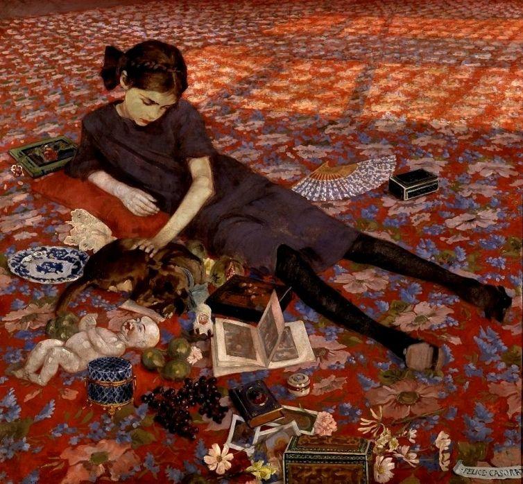Casorati, Felice (b,1883)- Girl on Red Carpet, 1912