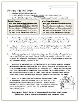 Main Idea Details Practice Page Reading Comprehension Strategies