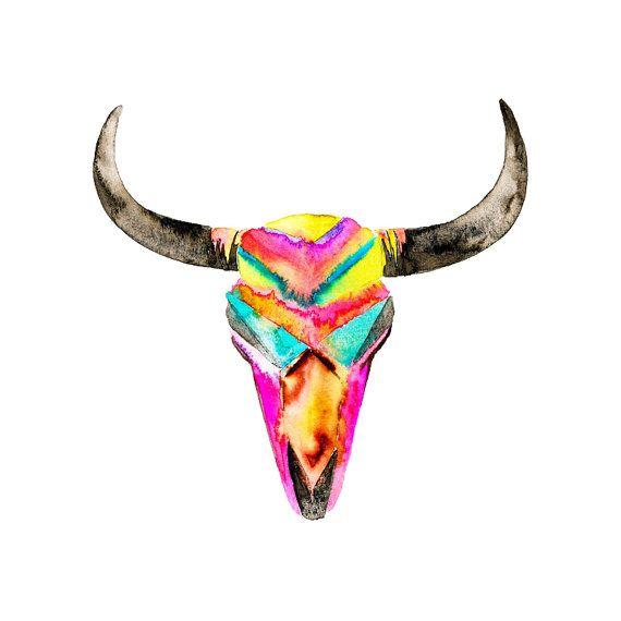 Watercolor Skull Art Print. Colorful Hippie Wall Art ...